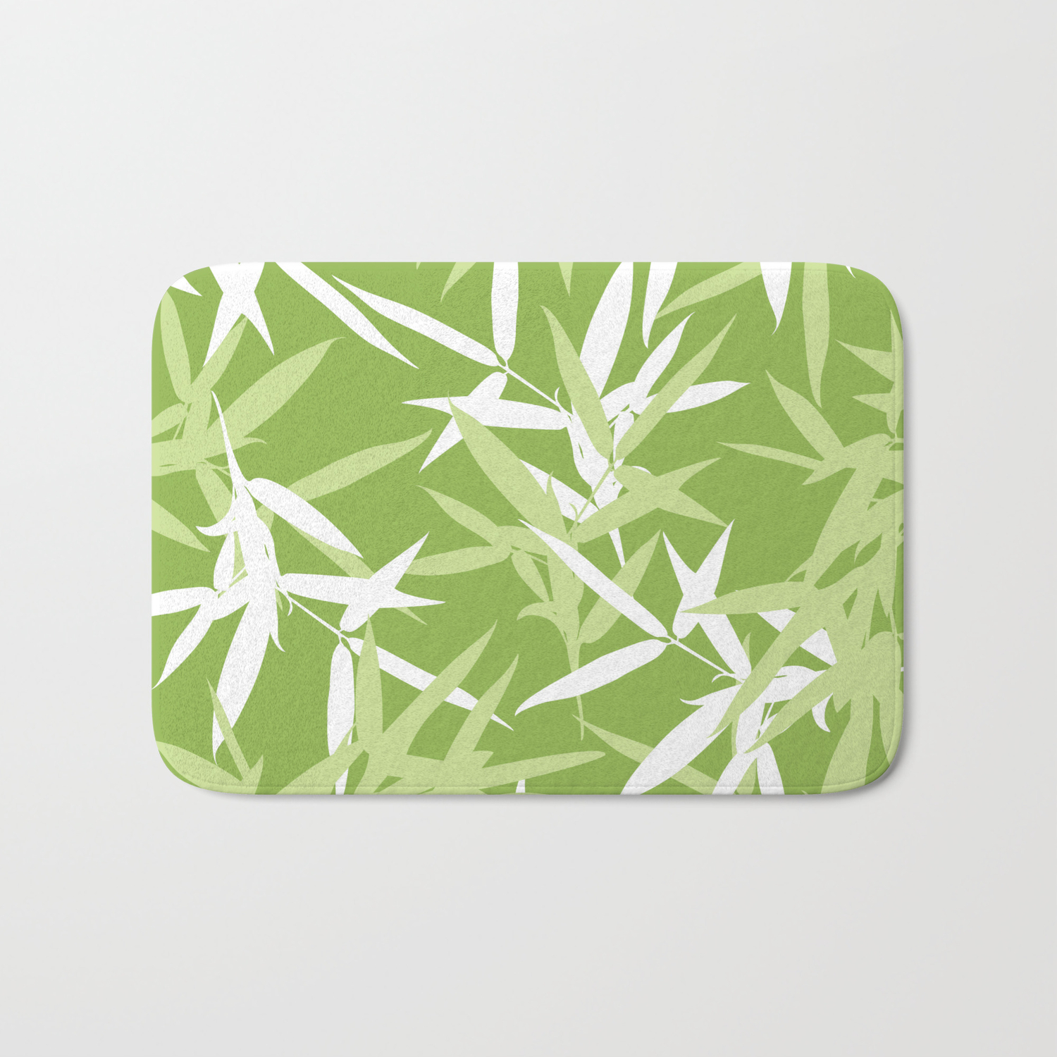 Green Bamboo Leaves Unique Pattern Bath Mat By Oursunnycdays Society6