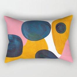 Mid Century Modern Abstract Minimalist Retro Vintage Style Pink Navy Blue Yellow Rollie Pollie Ollie Rectangular Pillow