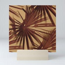 Burgundy and Coffee Tropical Beach Palm Vector Mini Art Print