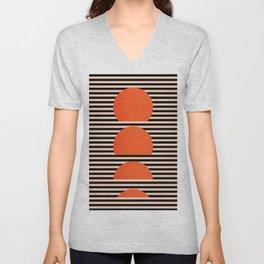 Abstraction_SUNSET_LINE_ART_Minimalism_001 Unisex V-Neck