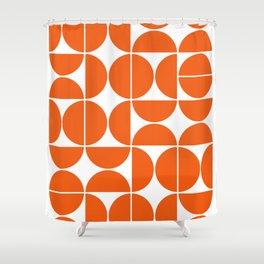 Mid Century Modern Geometric 04 Orange Shower Curtain