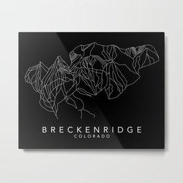 BRECKENRIDGE B&W // Colorado Trail Map White on Black Runs Minimalist Ski & Snowboard Illustration Metal Print