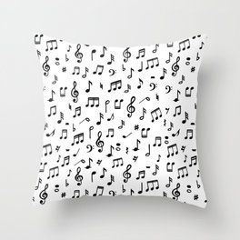 Music notes in black and white Throw Pillow