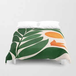 Tropical Forest Sunset / Mid Century Abstract Shapes Duvet Cover