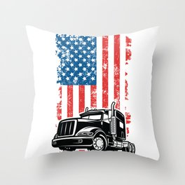 American Trucker - Truck and Flag Throw Pillow