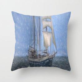 Sailing Ship Sketch Throw Pillow