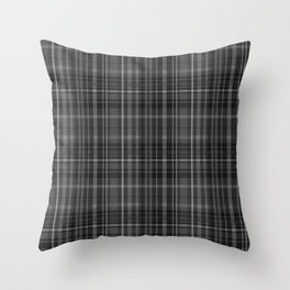 Black Grey Plaid Throw Pillow