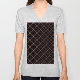 Pantone Living Coral Thin Line Stripe Grid (Pinstripe Pattern) on Black Unisex V-Neck