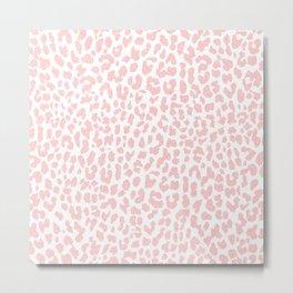 Pale Coral Leopard Metal Print