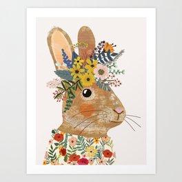 Foral Rabbit Art Print