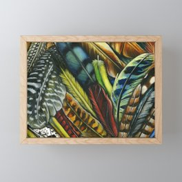 Feather collage, Watercolor painting Framed Mini Art Print