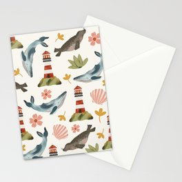 Lighthouses, Seals, and Whales Stationery Cards