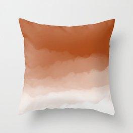 Burnt Orange Watercolor Ombre (burnt orange/white) Throw Pillow