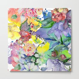 Watercolor Floral Pattern in Pastel Summer Colors Metal Print