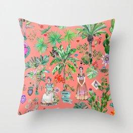 Frida's Coral Garden Throw Pillow