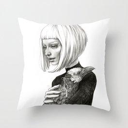 Black Raven in a White Raven's Mask Throw Pillow