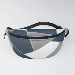 Navy Blue Gray White Mint Geometric Glam #1 #geo #decor #art #society6 Fanny Pack