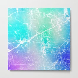 Modern turquoise purple watercolor abstract marble Metal Print