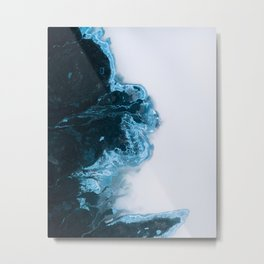 Abstract Aerial Lake in Iceland – Minimalist Landscape Photography Metal Print
