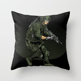 Modern Soldier Special Forces Tactics Throw Pillow
