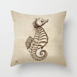 """Fantasy Seahorse"" by Amber Marine ~ (Vintage) ~ Ink Illustration, (Copyright 2016) Throw Pillow"