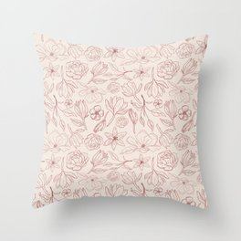 Burgundy Magnolia Pattern Throw Pillow