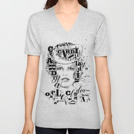Typographic image Claudia Cardinale Once upon a time in the west Unisex V-Neck