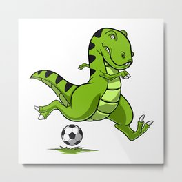 Soccer T-Rex Dinosaur Metal Print