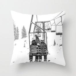 Snow Lift // Ski Chair Lift Colorado Mountains Black and White Snowboarding Vibes Photography Throw Pillow