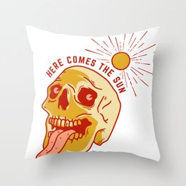Here Comes The Sun Skull Art Throw Pillow