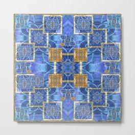 Geometric Blue and Gold Wealth Mandala Metal Print