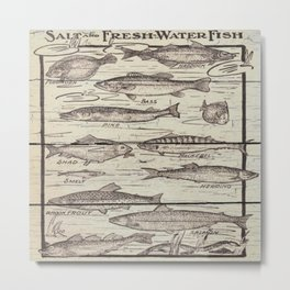 father's day fisherman gifts whitewashed wood lakehouse freshwater fish Metal Print