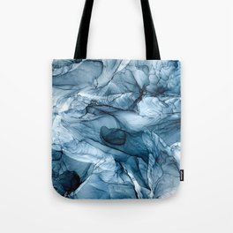 Churning Blue Ocean Waves Abstract Painting Tote Bag