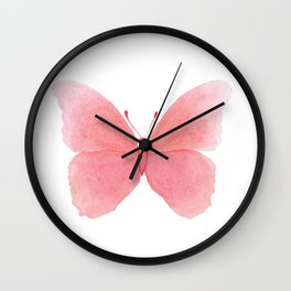 Watermelon pink butterfly Wall Clock