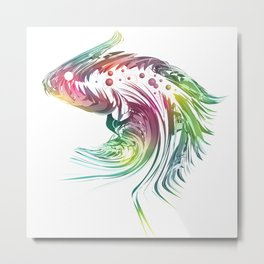 Beautiful exotic and artistic fish illustration on white background Metal Print