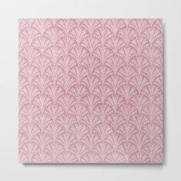 Faux Velvet Fan Pattern In Powder Pink Metal Print