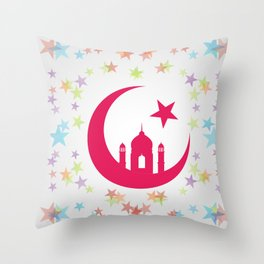 Mosque dome and minaret silhouette Throw Pillow
