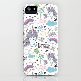 Magical Rainbow, Unicorn And Crystal Pattern iPhone Case