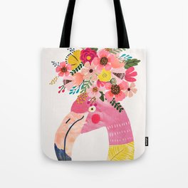 Pink flamingo with flowers on head Tote Bag
