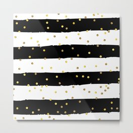 Black and white grunge striped background with Gold confetti Metal Print