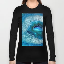 Teal Blue Agate II Long Sleeve T-shirt