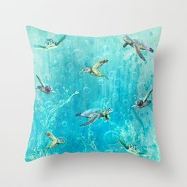 Swimming Turtles Throw Pillow