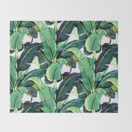 Tropical Banana leaves pattern Throw Blanket