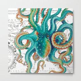 Teal Octopus Tentacles Vintage Map Nautical Metal Print