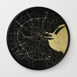 Dublin Ireland Black on Gold Street Map Wall Clock