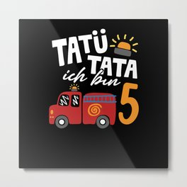 5th birthday fire department for children Metal Print