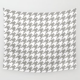 Houndstooth Checkered Grey & White Pattern Wall Tapestry