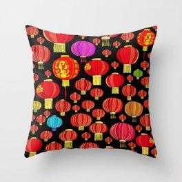 Lanterns on Black Throw Pillow