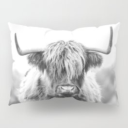 Highland Cow Longhorn in a Field Black and White Pillow Sham