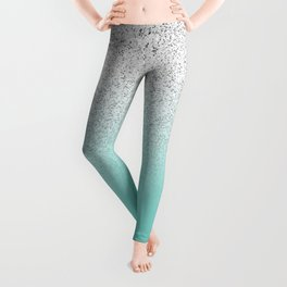 Modern Girly Faux Silver Glitter Ombre Teal Ocean Color Block Leggings
